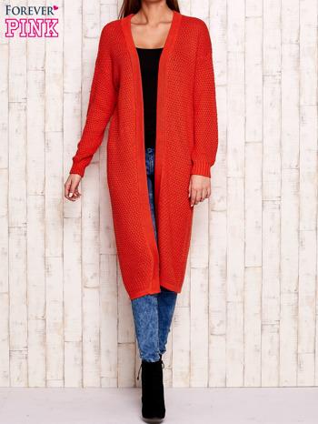 Pomarańczowy długi sweter z dzianiny                                  zdj.                                  1