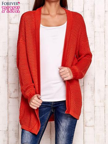 Pomarańczowy fakturowany otwarty sweter                                   zdj.                                  1