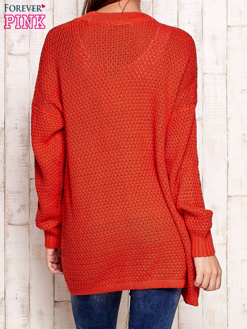 Pomarańczowy fakturowany otwarty sweter                                   zdj.                                  4