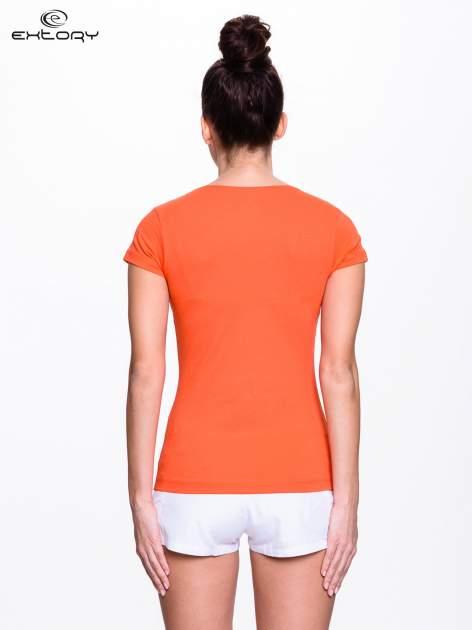 Pomarańczowy jednolity t-shirt sportowy                                  zdj.                                  2