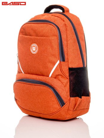 Pomarańczowy plecak szkolny z naszywką