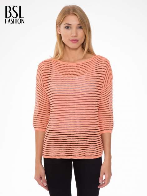 Pomarańczowy półtransparentny sweter w prążki                                  zdj.                                  1