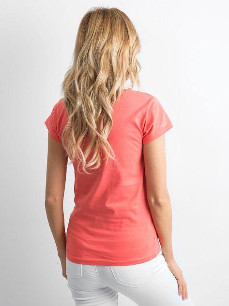Pomarańczowy t-shirt damski z napisem                              zdj.                              2