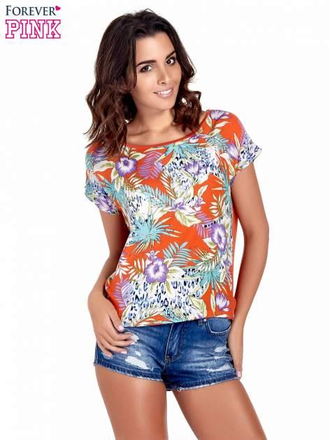 Pomarańczowy t-shirt z nadrukiem floral print                                  zdj.                                  1