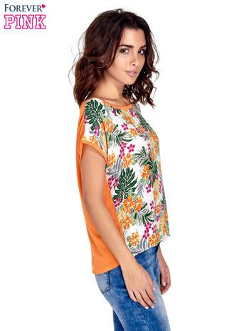 Pomarańczowy t-shirt z nadrukiem kwiatowym                                  zdj.                                  3