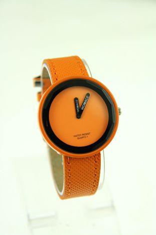 Pomarańczowy zegarek damski na pasku