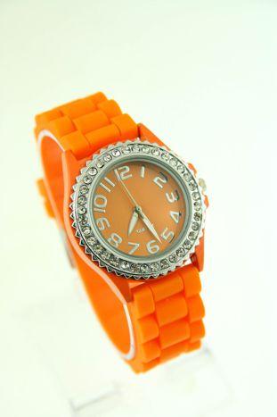 Pomarańczowy zegarek damski na silikonowym pasku