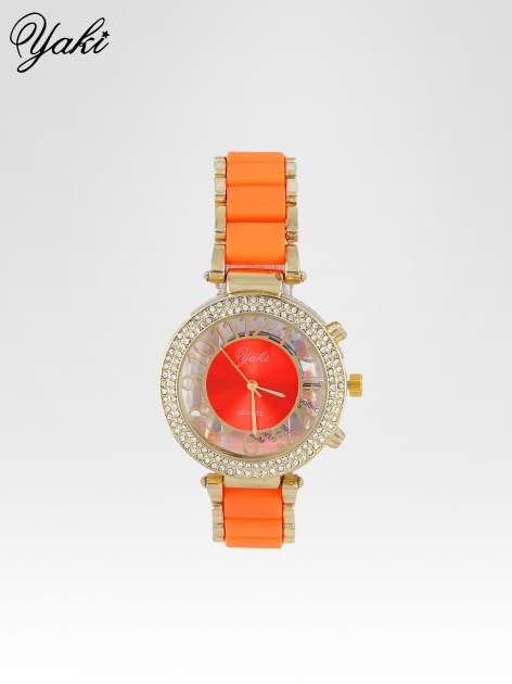 Pomarańczowy zegarek na bransolecie z cyrkoniami na tarczy                                  zdj.                                  1
