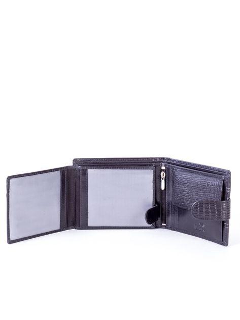 Portfel skórzany czarny z tłoczoną wstawką                              zdj.                              5