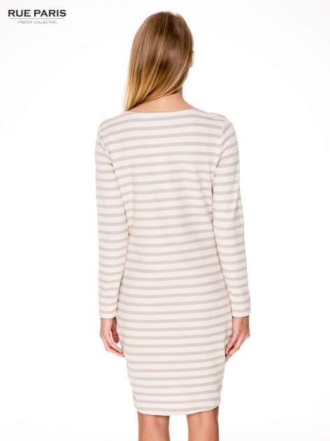 Prosta sukienka w biało-beżowe paski ze złotą nitką                                  zdj.                                  4