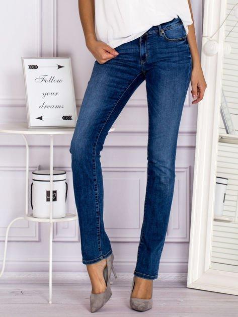 Proste spodnie jeansowe z delikatnymi przetarciami niebieskie                                  zdj.                                  1
