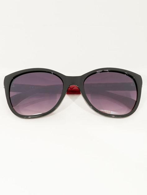 Przeciwsłoneczne okulary damskie z czerwonymi zausznikami                              zdj.                              1