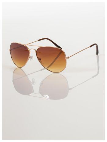 Przepiękne brązowe pilotki -okulary przeciwsłoneczne typu AVIATOR