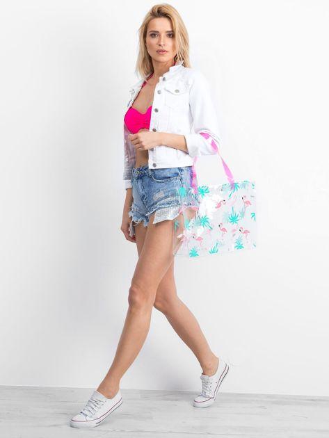 Przezroczysta torba damska we flamingi                              zdj.                              2