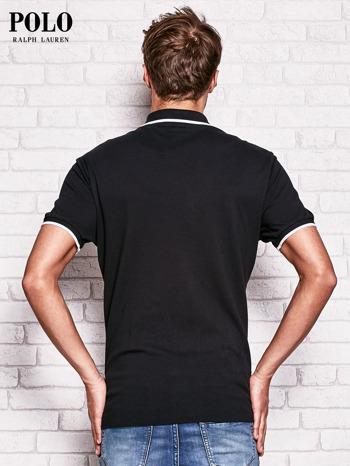 RALPH LAUREN Czarna koszulka polo męska z naszywką                                  zdj.                                  3