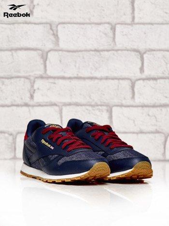 REEBOK granatowe sneakersy damskie Classic Leather DG z kolorowymi sznurowadłami