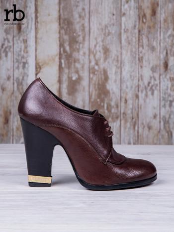 ROCCOBAROCCO Brązowe wiązane botki true leather skórzane oxfordki                                  zdj.                                  2