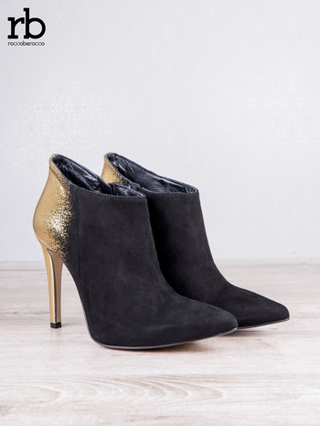 ROCCOBAROCCO Czarnozłote botki dual leather na szpilkach w szpic                                  zdj.                                  6