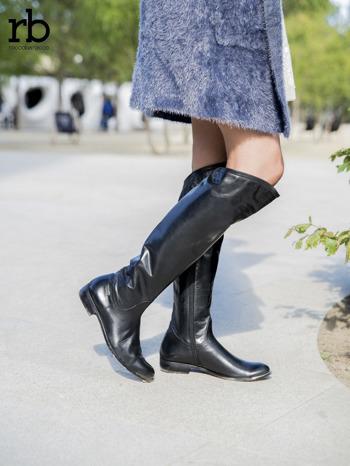 ROCCOBAROCCO czarne skórzane kozaki genuine leather do kolan z asymetryczną cholewką                                  zdj.                                  2