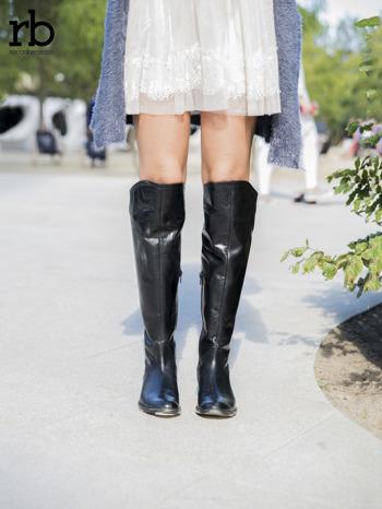 ROCCOBAROCCO czarne skórzane kozaki genuine leather do kolan z asymetryczną cholewką                                  zdj.                                  3