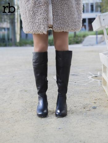 ROCCOBAROCCO czarne skórzane kozaki genuine leather na traktorowej podeszwie do kolan                                  zdj.                                  3