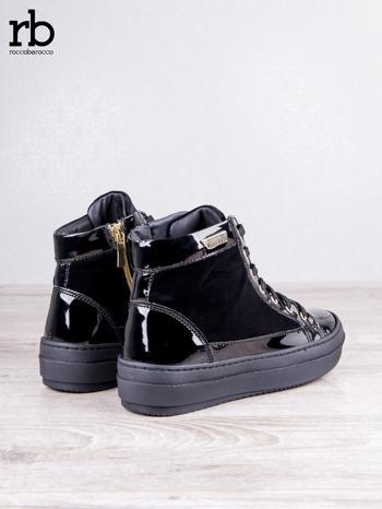 ROCCOBAROCCO czarne welurowe sneakersy dual texture z lakierowanymi wstawkami                                  zdj.                                  4