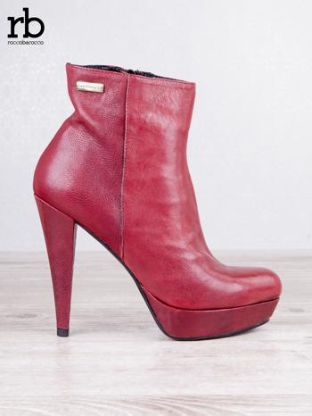 ROCCOBAROCCO czerwone skórzane botki genuine leather na koturnach                                  zdj.                                  1