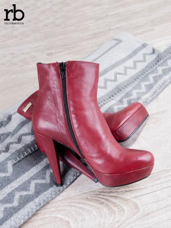 ROCCOBAROCCO czerwone skórzane botki genuine leather na koturnach                                  zdj.                                  2