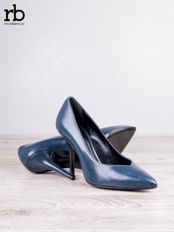 ROCCOBAROCCO niebieskie skórzane szpilki grain leather w szpic                                  zdj.                                  3