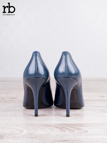 ROCCOBAROCCO niebieskie skórzane szpilki grain leather w szpic                                  zdj.                                  6