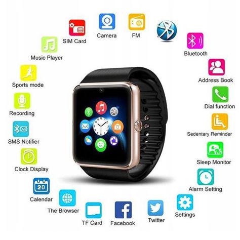 RONEBERG Smartwatch RG08 Współpracuje z Android oraz iOS Powiadomienia Połączenia Krokomierz Monitor snu Czarny                              zdj.                              3