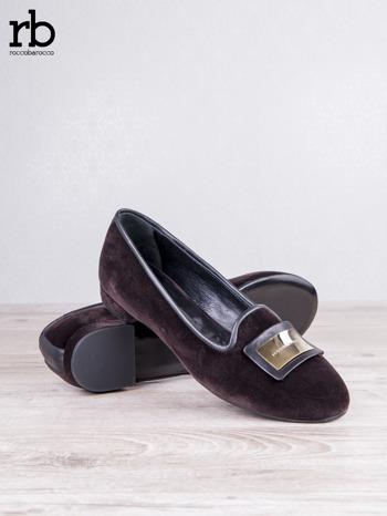 Roccobarocco brązowe baleriny shammy-leather z weluru                                  zdj.                                  4