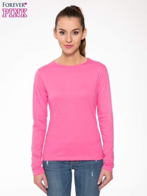Różowa bawełniana bluzka typu basic z długim rękawem                                  zdj.                                  1