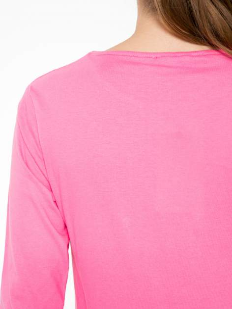 Różowa bawełniana bluzka typu basic z długim rękawem                                  zdj.                                  7