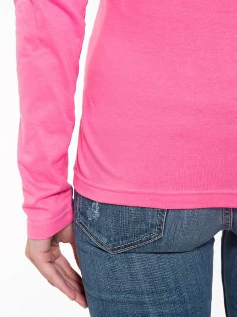 Różowa bawełniana bluzka typu basic z długim rękawem                                  zdj.                                  9