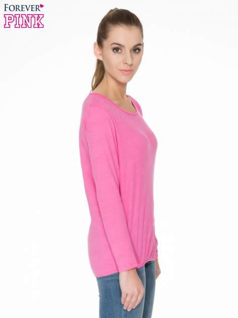 Różowa bawełniana bluzka z gumką na dole                                  zdj.                                  3