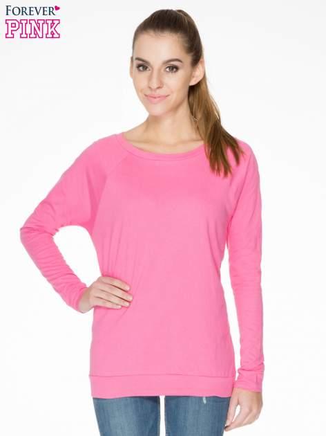Różowa bawełniana bluzka z rękawami typu reglan