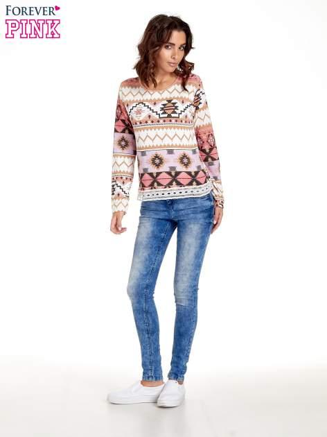 Różowa bluza w azteckie wzory z gipiurą                                  zdj.                                  7