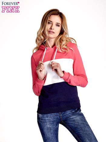 Różowa bluza z kapturem z białym i granatowym wykończeniem                                  zdj.                                  5