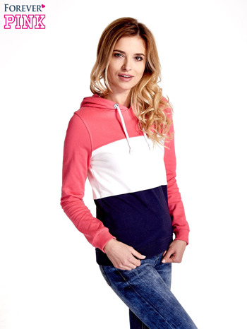 Różowa bluza z kapturem z białym i granatowym wykończeniem                                  zdj.                                  3