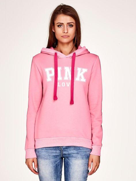 Różowa bluza z nadrukiem i troczkami