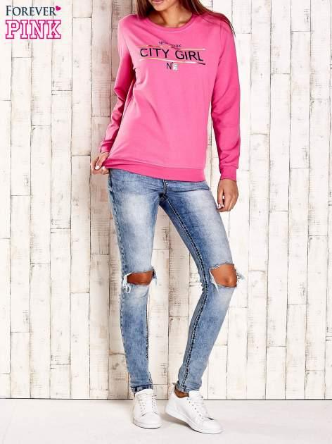 Różowa bluza z napisem CITY GIRL                                  zdj.                                  4