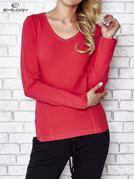 Różowa bluzka sportowa z dekoltem V                                  zdj.                                  1