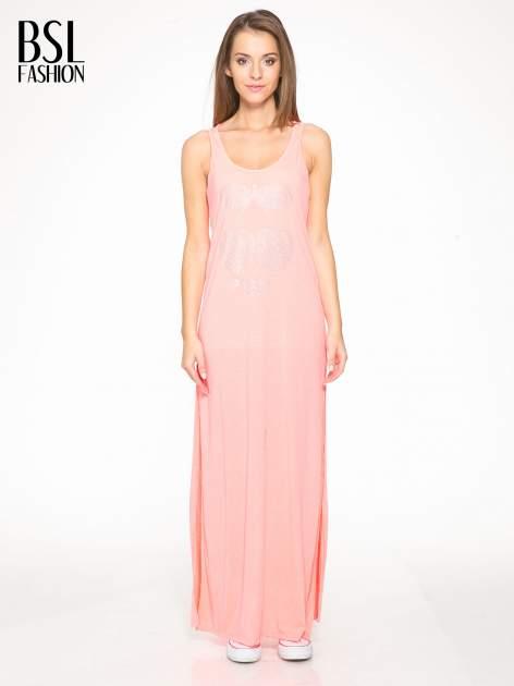 Różowa długa sukienka maxi z aplikacją z dżetów                                  zdj.                                  1