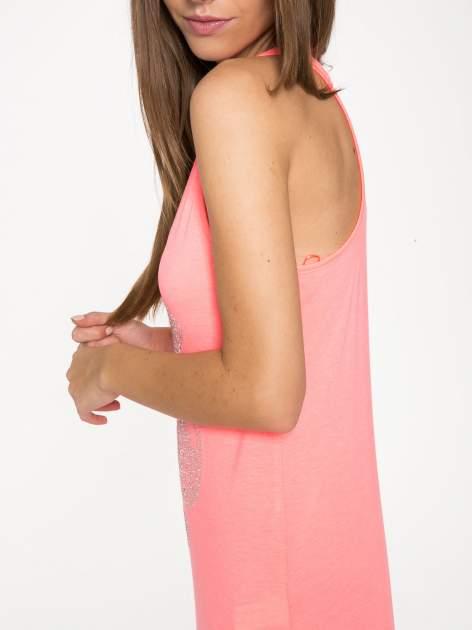 Różowa długa sukienka maxi z aplikacją z dżetów                                  zdj.                                  7