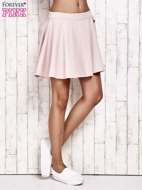 Różowa dresowa spódnica szyta z koła                                  zdj.                                  2