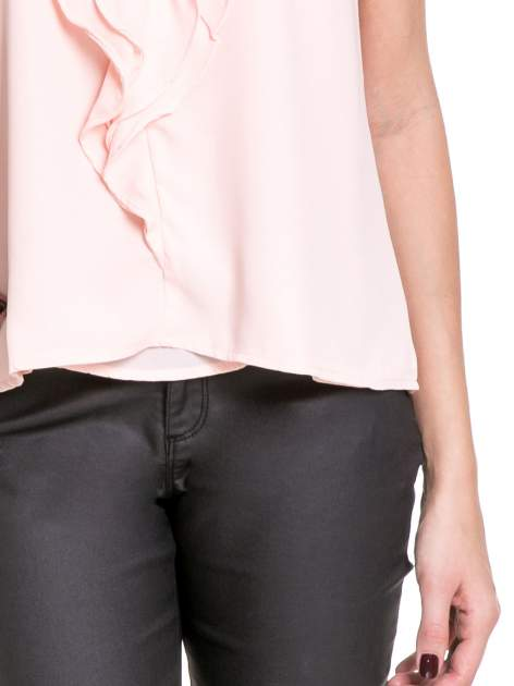 Różowa elegancka koszula z żabotem                              zdj.                              6
