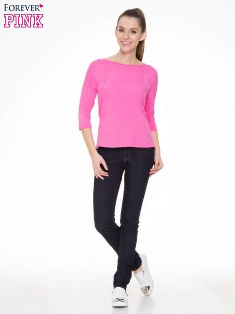 Różowa gładka bluzka z ozdobnymi przeszyciami                                  zdj.                                  2