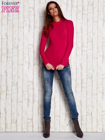 Różowa gładka bluzka z półgolfem                                  zdj.                                  3