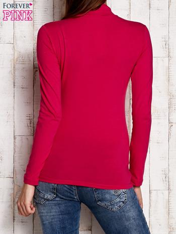 Różowa gładka bluzka z półgolfem                                  zdj.                                  4